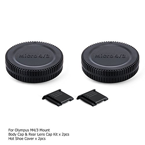 Micro 4/3 Back Rear Lens Cap Cover & Body Cap Cover Kit with Hot Shoe Cap for Panasonic Lumix G9 G7 G85 GH5 GH5S GH4 GH3 GX9 GX8 GX7 GX85 GF9 GF10 Olympus OM-D EM1 EM5 EM10 PEN EPL9 EPL8 EPL7 and More