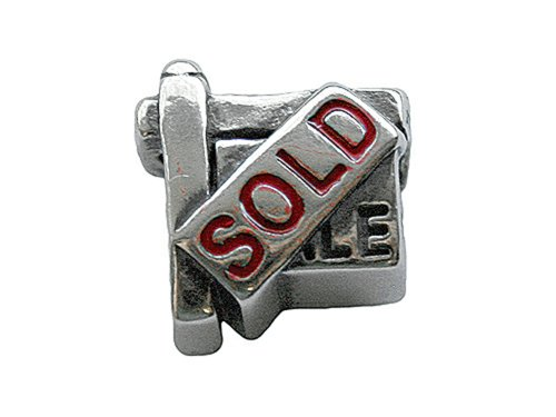 Zable Sterling Silver Sold Sign Bead / Charm (Charm Sold Sign)
