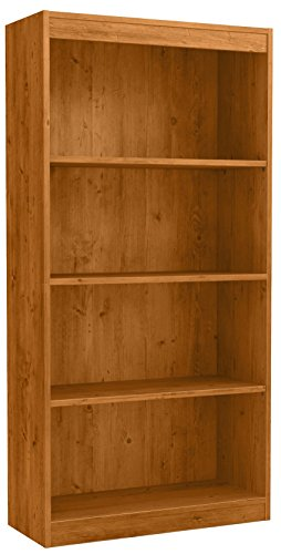 Rustic Pine Bookcase - South Shore 4-Shelf Storage Bookcase, Country Pine