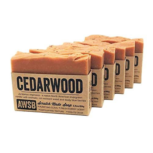 6 Pack Cedarwood Bar Soap with Red Clay, Vegan, All Natural with Organic Ingredients, Handmade by A Wild Soap Bar 6 pack