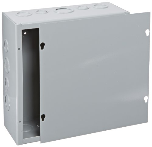 BUD Industries JB-3960-KO Steel NEMA 1 Sheet Metal Junction Box with Knockout and Lift-off Screw Cover, 10'' Width x 10'' Height x 4'' Depth, Gray Finish by BUD Industries (Image #1)