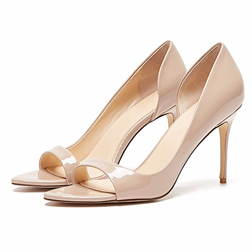 96d798345537e6 EDEFS Damen Peep Toe Pumps Offene High Heels Lack Stilettos Schuhe Beige ...