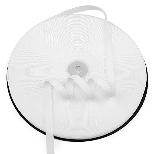 Humphrey's Craft 3/8 inch Single Face Velvet Ribbon 100% Nylon Ribbon Roll -25 Yard (White)