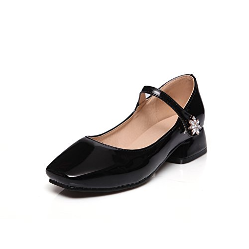 Chunky Low s Mary Odetina Women Leather Dress Patent Heels Black Pumps Jane Cute npZxHqU