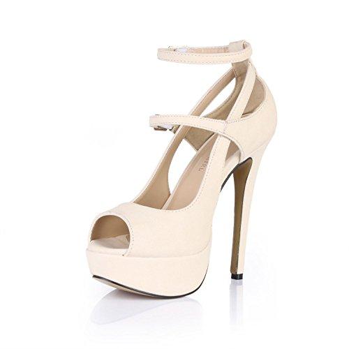 Best 4U? Women's Summer Sandals Premium PU Peep toe 14CM High Heels 3CM Platforms Rubber Sole Two Buckles Pumps Beige CMF9TbzyeJ