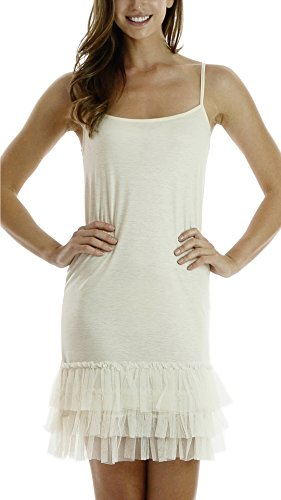 [Shop Lev] Women's cotton full slip dress with three tiered mesh bottom Tiered Mesh Dress