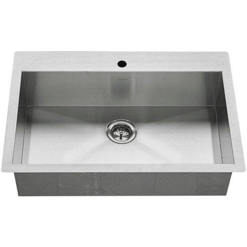 SB.9332211.075 Edgewater Zero Radius Dual Mount 33x22 single Bowlwithgrid & Drain, Stainless Steel (American Standard Stainless Steel Sink)
