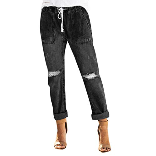 (Women's Drawstring Elastic Waist Stretch Denim Joggers Sweatpants with Pocket Distressed Ripped Holes Jeans Pants Activewear (M, Black))