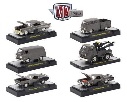 M2 Machines New 1:64 Titanium Collection - Titanium Release 1 Assortment Acrylic CASE Diecast Model Car Set of 6 Cars ()