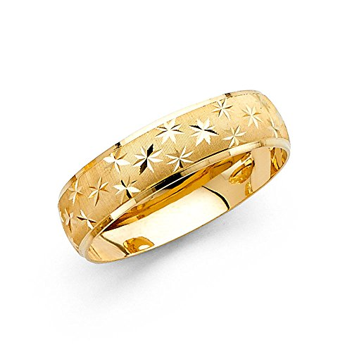 Milgrain Ring Solid 14k Yellow Gold Wedding Band Diamond Cut Star Dome Style Satin Finish 6 mm Size (Yellow Gold Milgrain Ring)