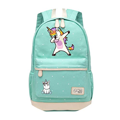 Backpack For Women Girls Canvas bag Flowers wave point Rucksacks backpack travel Shoulder Bag,NEW Green2 (Flowers Orange Port Fl)