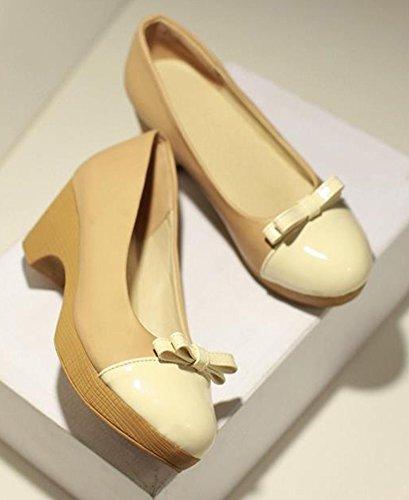 Easemax Femme Bout Rond Doux Slip Bas Sur Chunky Kitten Talon Pompes Chaussures Avec Des Arcs Abricot