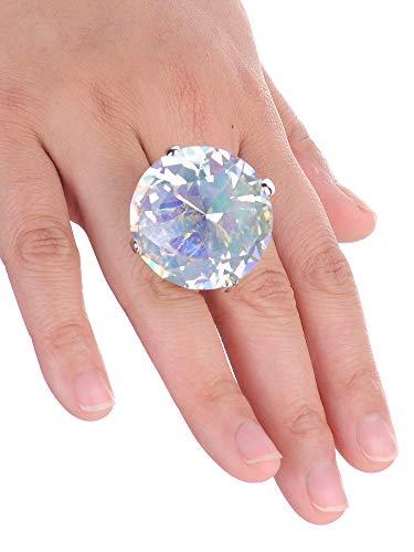 (NYFASHION101 Women's Extra Big Rhinestone Fashion Stretch Ring, Aurora Borealis/Silver-Tone)