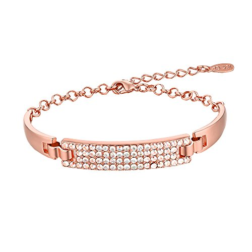 Barzel 18K Gold, Rose Gold or White Gold Sparkle Swarovski Elements Bling Crystal Bracelet (Rose Gold)