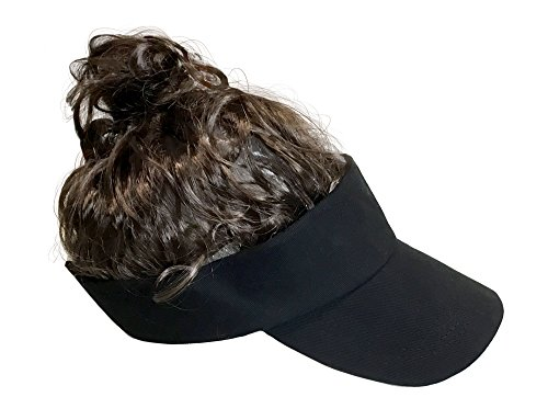 Billy-Bob Man Bun Visor, The World's First Man Bun Visor! Brown Hair!, Black, One Size -