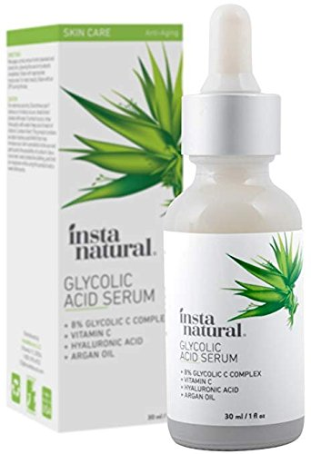 Glycolic Acid Serum - With Vitamin C, Hyaluronic Acid - Intensive Exfoliating & Anti-Aging Renewal Remedy - Acne & Blackhead Remover, Pore Minimizer, Reduce Wrinkles & Scars - InstaNatural - 1 oz
