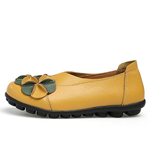 O&N Women Ladies Leather Casual Loafers Flat Boat Driving Shoes Slip Ons Yellow UZrygg