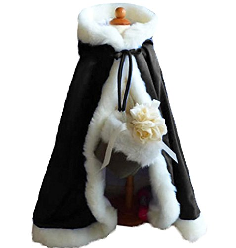 Price comparison product image Baby Flower Girls Hooded Cape Winter Wedding Cloak For Kids Junior Bridesmaid Warm Fur Black 44 inches