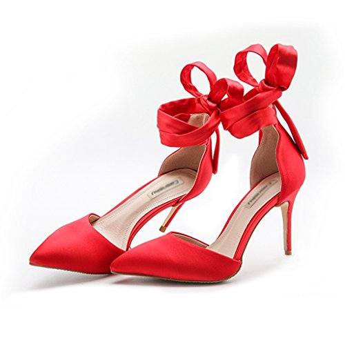 summer silk satin strap high heel wedding shoes empty header wild sandals Women single nude fine with pointed high heels ( Color : Red 8cm , Size : 33 )