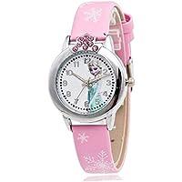 Cartoon Frozen Elsa Kids Leather quartz WristWatch for Girls, Pink