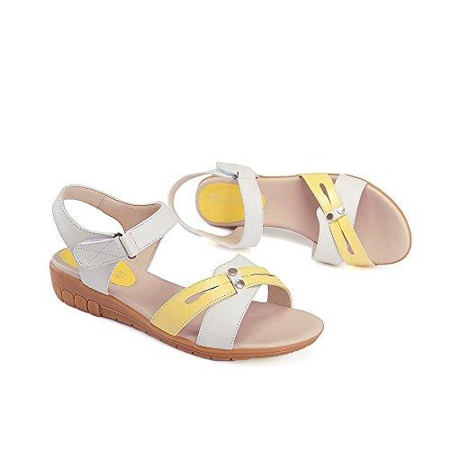 AgooLar Mujeres Velcro Puntera Abierta Mini Tacón Colores Surtidos Sandalia Amarillo