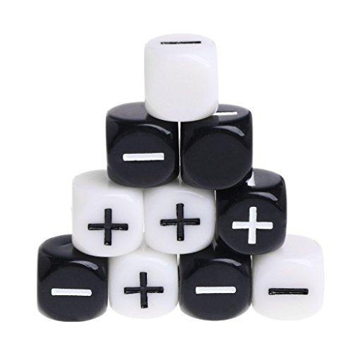 OtGo 10個/セット15mm Addition and Subtractionアクリルダイスキューブビーズ6つSidesポータブルテーブルゲームおもちゃ
