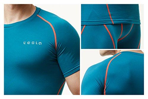 (テスラ) TESLA メンズ 冬用起毛 半袖 スポーツシャツ[吸湿発熱?保温] コンプレッションウェア パワーストレッチ アンダーウェア YUB36