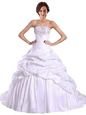 RohmBridal Women's Embroidery Taffeta Ball Gown Wedding Bridal Dress