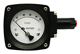 "Meriam 300 Series 316 Stainless Steel Convoluted Diaphram Gauge with Buna-N Seal, 0-60 psid Range, 4.5"" Dial, +/- 2% Accuracy, 1/4"" NPT Female Connection"