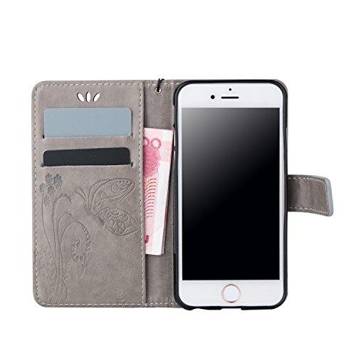ZeWoo Folio Ledertasche - LD102 / Mystische grau - für Apple iPhone 5 5G 5S / iPhone SE (4 Zoll) PU Leder Tasche Brieftasche Case Cover