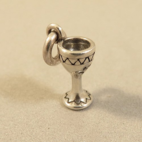 Wine Charms Wholesale - Sterling Silver Tiny WINE GLASS CHARM NEW Chalice Cup Goblet 925 KT83 Jewelry Making Supply Pendant Bracelet DIY Crafting by Wholesale Charms