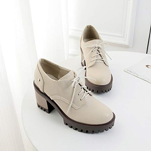 Shoes Platform Women'S Waterproof Shoe Laced Simple KPHY Shoes 8Cm Bottom Round Female Casual Heel Thick Head Thirty High Retro Single Seven Beige zqqOCwd