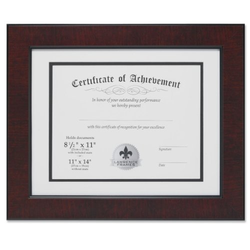 Lawrence Frames Dual Use Faux Burl 11 by 14-Inch Certificate Picture Frame with Double Bevel Cut Matting for 8.5 by 11-Inch Document, Mahogany (Frame University Diploma)