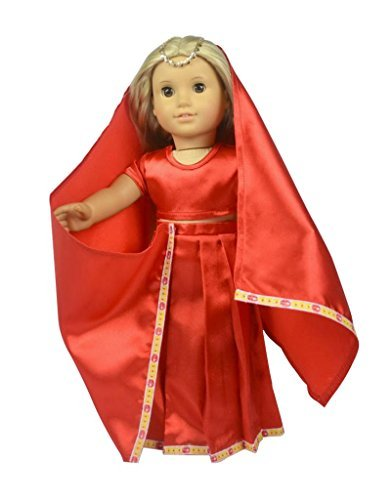 Glamerup: Jasmin - Unique Asian Indian Outfit in Red, Sized for Most 18 inch Dolls