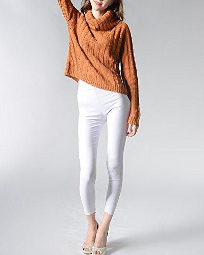 Mujeres Chaquetas Suéter Jersey de Manga Larga Alta Cuello Pullover Amarillo