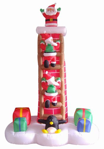 7' Airblown Inflatable Animated Santa Trio on Chimney Ladder Lighted Christmas Yard Art by LB International