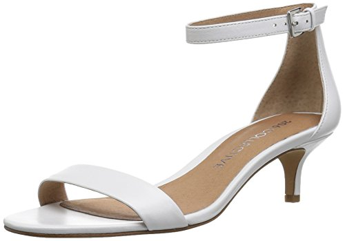 Amazon Brand - 206 Collective Women's Eve Stiletto Heel Dress Sandal-Low Heeled, white leather, 8.5 B US