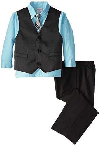 Perry Ellis Little Boys' Mini Dot Stripe Vest Toddler Set, Petite Four, 3T (Perry Boys Suits Ellis)