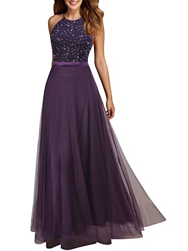 Viwenni Women's Vintage Lace Evening Party Wedding Long Dress (XL, Purple)
