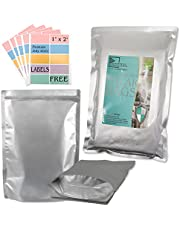 50 PCS Mylar Bags Heat Sealable Bags, Stand-Up Zipper Pouches Resealable for Long Term Food Storage