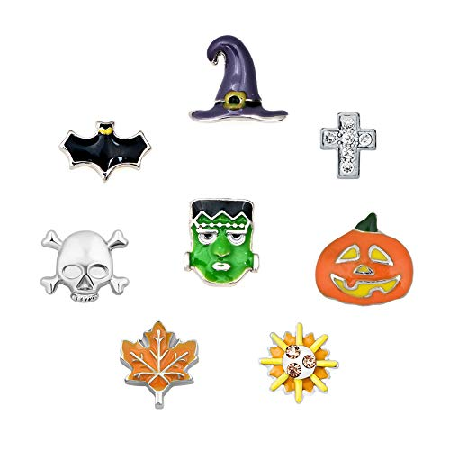 Origami Owl Halloween Locket (Q&Locket 8pcs Halloween Skull Pumpkin Dia De Los Floating Charms Set Fit Living Memory Locket)