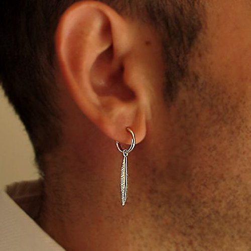 Amazon.com  Single Feather Earring for Men - Black Mens Hoop ... 63ff5083c75c