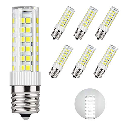 DiCUNO E17 LED Bulb Microwave Oven Light 6 Watt Appliance Bulb Daylight White 6000K, 550lm, 60W Halogen Equivalent AC110-130V (6-Pack)