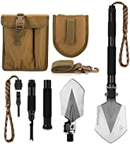 FiveJoy Compact Military Folding Shovel - Portable Multitool, Tactical Entrenching Tool for Camping, Backpacki