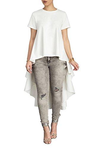 (Women Casual Crewneck Short Sleeves High Low Hem Bodcyon Party Tops Blouse Shirt White XL)
