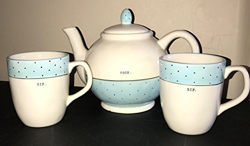 Rae Dunn by Magenta POUR. Tea Pot in typeset letters and 2 SIP. Tea Cups in typeset letters, all with Blue Polka Dot Highlights Tea Set Coffee Cups.
