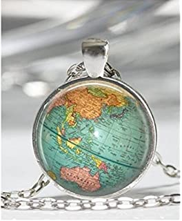 Amazon world map globe necklace vintage globe pendant world vintage globe necklace planet earth world map art pendant in bronze or silver with link chain gumiabroncs Gallery