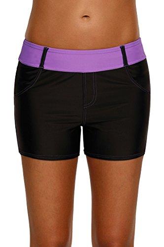 COCOLEGGINGS Female Wide Waistband Boy Shorts Quick Dry Swim Trunks Purple L - Waistband Boyshort