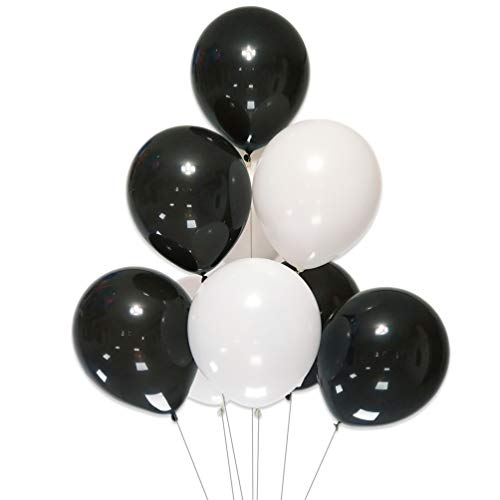 Pearl Black Latex - AZOWA White and Black Latex Balloons 12 inch Party Decorations Pack of 100 Balloons Great for Birthday Party Baby Shower Wedding Celebrate Decorations