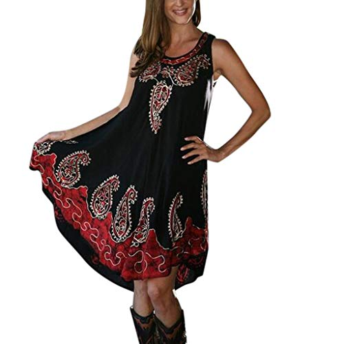 Women's Summer Casual Loose Tank top Dresses Sveless Print Swing ni Dress Beach Vest Dress Sundresses Red